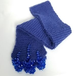Hand knit beaded wool blend scarf